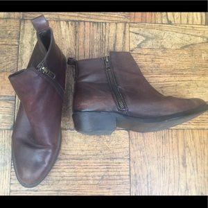 DUNE LONDON Leather Choc Brown Booties CLASSY